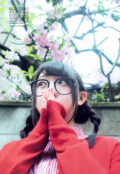 Tags: J-Pop, AKB48, Kizaki Yuria, Flower, Cherry Blossom, Glasses, Android/iPhone Wallpaper, Magazine Scan