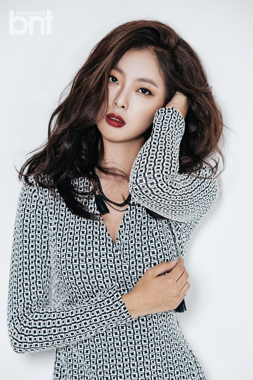 Tags: K-Drama, Ko Won-hee, Black Eyes, One Arm Up, Necklace, Spotted, Serious, Spotted Dress, Hand On Head, Red Lips, Magazine Scan, Android/iPhone Wallpaper