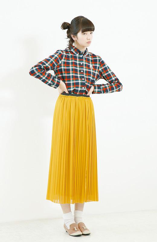 Tags: Komatsu Nana, Pouting, Hair Up, Checkered, Light Background, Checkered Shirt, White Background, Yellow Skirt, Hand On Hip, Hair Buns, Skirt