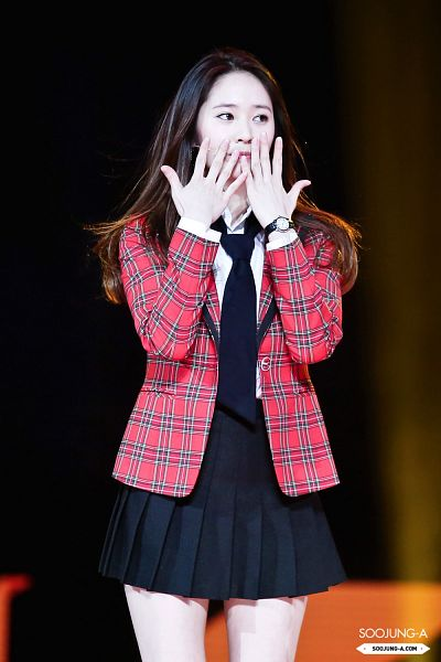 Tags: K-Pop, f(x), Krystal Jung, Red Jacket, Red Outerwear, Black Skirt, Bare Legs, Dark Background, Checkered, Looking Away, Black Neckwear, Black Background