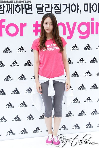 Tags: K-Pop, f(x), Krystal Jung, Korean Text, White Outerwear, Light Background, Bare Legs, Pink Shirt, White Background, Gray Pants, Shoes, Sneakers