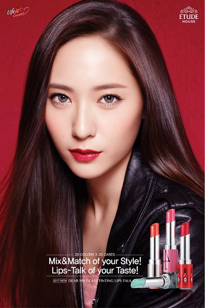 Tags: K-Pop, f(x), Krystal Jung, Jacket, Leather Jacket, Red Background, Contact Lenses, Closed Mouth, Black Jacket, Black Outerwear, Korean Text, Close Up