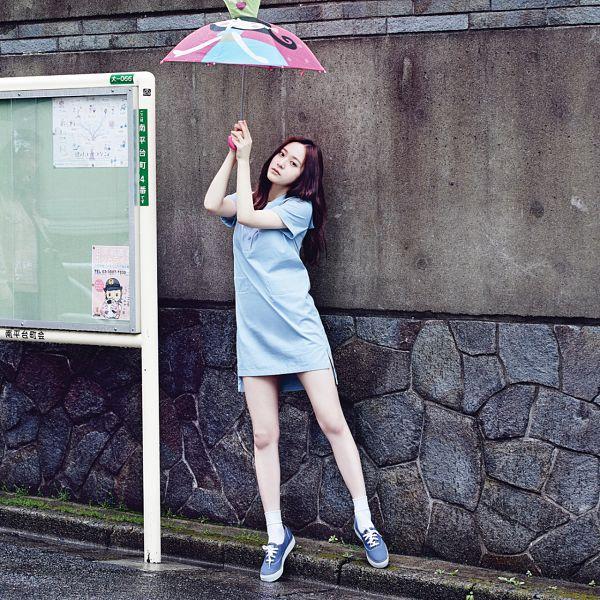 Tags: K-Pop, f(x), Krystal Jung, Umbrella, Full Body, Blue Dress, Dress, Blue Outfit, Blue Footwear, Oh Boy!
