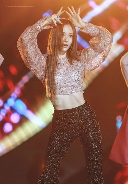 Tags: K-Pop, f(x), Krystal Jung, Arms Up, Ring, Text: Artist Name, Necklace, Silver Shirt, Midriff, Black Pants, Text: Song Title, Butterfly4ever12