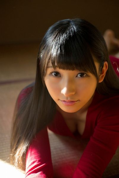 Tags: J-Pop, HKT48, Kurihara Sae, Cleavage, Looking Up, Laying Down, Laying On Ground, Suggestive, From Above, Red Dress, Red Outfit, Laying On Stomach