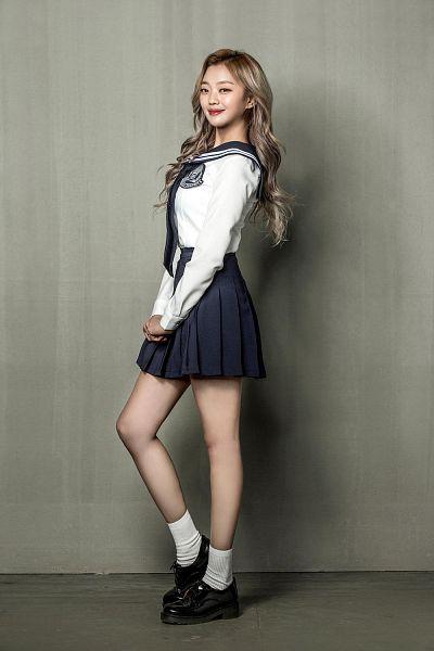Tags: K-Drama, K-Pop, Real Girls Project, Kwon Haseo, Bow, Gray Background, Uniform, Skirt, Gray Hair, Black Skirt, Black Bow, School Uniform