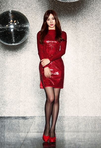 Tags: K-Pop, AOA (Ace Of Angels), Miniskirt (Song), Kwon Mina, Shoes, Red Dress, Full Body, Red Footwear, Android/iPhone Wallpaper