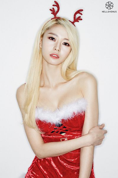 Tags: Hello Venus, Kwon Nara, Sleeveless Dress, Cleavage, Text: Artist Name, Lingerie, Hand On Arm, Collarbone, Antlers, Christmas, Bra, Red Outfit