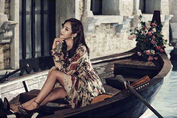 Tags: K-Pop, Girls' Generation, Lion Heart, Kwon Yuri, High Heels, Boat, Looking Ahead, Floral Dress, Brown Outfit, Chin In Hand, Brown Dress, Floral Print