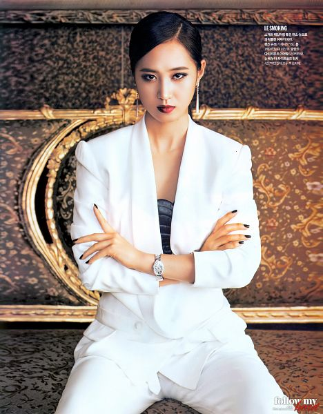 Tags: K-Pop, Girls' Generation, Kwon Yuri, Watch, Korean Text, White Outfit, Red Lips, Crossed Arms, White Jacket, Make Up, Hair Up, White Pants