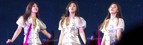 Tags: K-Pop, Girls' Generation, Kwon Yuri, White Jacket, Gold Shirt, Multiple Persona, White Outerwear, Blue Background, Gray Outerwear, Eyes Half Closed, Looking Away, Kkabyul