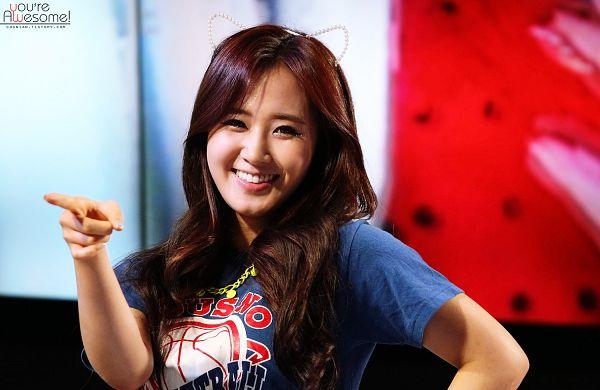 Tags: K-Pop, Girls' Generation, Dancing Queen, Kwon Yuri, Blue Shirt, Pointing, Animal Ears, Wallpaper, You're Awesome