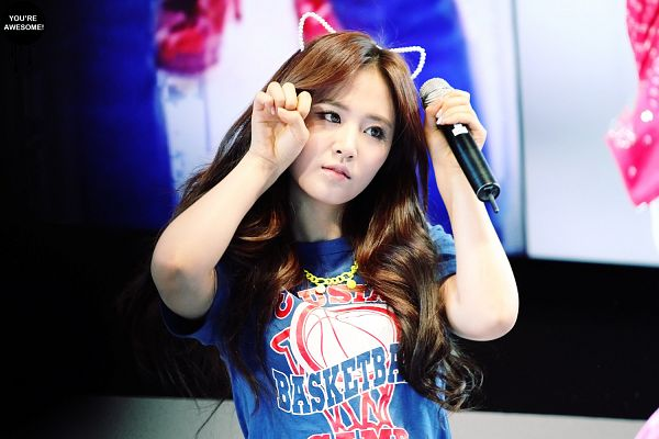 Tags: K-Pop, Girls' Generation, Dancing Queen, Kwon Yuri, Necklace, Blue Shirt, Looking Away, Animal Ears, Wallpaper, You're Awesome