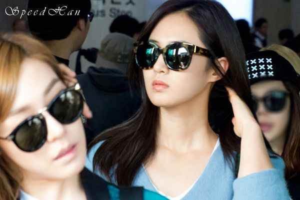 Tags: K-Pop, Girls' Generation, Kwon Yuri, Covering Eyes, Sunglasses, Blue Jacket, Looking Away, Hand In Hair, Blue Outerwear, Glasses, Speed Han