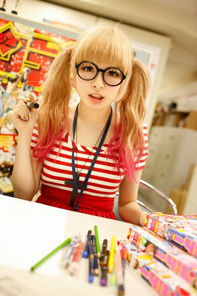 Tags: J-Pop, Kyary Pamyu Pamyu, Skirt, Glasses, Chair, Red Shirt, Sitting On Chair, Striped Shirt, Necklace, Striped, Red Skirt, Twin Tails
