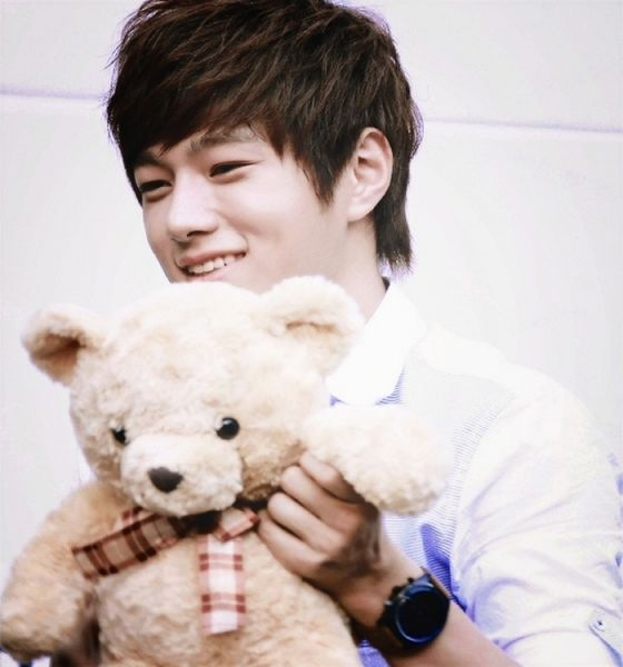 Tags: K-Pop, Infinite, L, Laughing, Stuffed Toy, Light Background, Stuffed Animal, Watch, White Background, Looking Down, Wristwatch, Looking Away