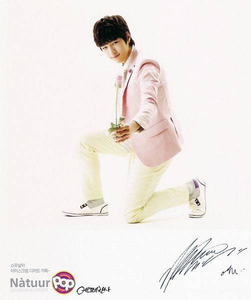Tags: K-Pop, Infinite, L, Socks, Text: Brand Name, Light Background, Tie, White Background, Flower, Shoes, Kneeling, Signature