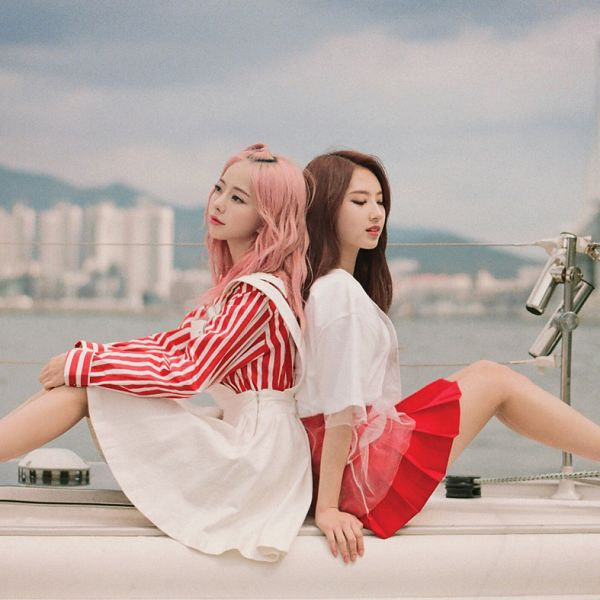 Tags: K-Pop, LOOΠΔ, Everyday I Love You, Vivi (LOOΠΔ), Jo Haseul, White Outfit, Back To Back, Skirt, Sky, Striped Shirt, Striped, Duo