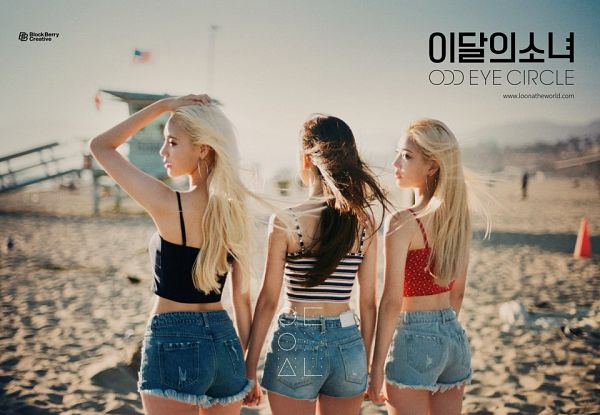 Tags: K-Pop, LOOΠΔ, Choerry, Jung Jinsoul, Kim Lip, Jeans, Korean Text, Spotted Shirt, Trio, Striped, Wind, Red Shirt
