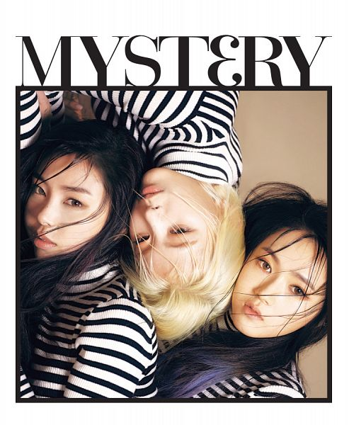 Tags: K-Pop, Ladies Code, Ashley, Zuny, Lee So-jung, Striped Shirt, White Border, Full Group, Text: Song Title, Striped, Trio, Three Girls
