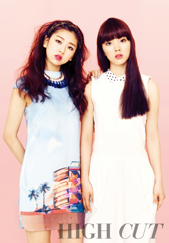Tags: K-Pop, Ladies Code, Zuny, RiSe, Text: Magazine Name, White Outfit, Two Girls, White Dress, Duo, Hand On Shoulder, High Cut