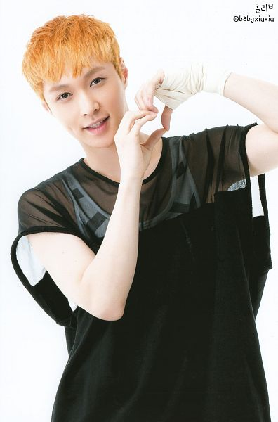 Tags: K-Pop, EXO, Lay, White Background, Striped, Bandages, See Through Clothes, Striped Shirt, Heart Gesture, Baseball, Light Background, Red Hair