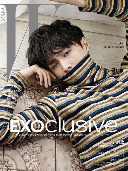 Tags: SM Town, K-Pop, EXO, Lay, Korean Text, Collar (Clothes), Text: Artist Name, Turtleneck, Text: Magazine Name, Striped Shirt, Striped, Laying On Ground