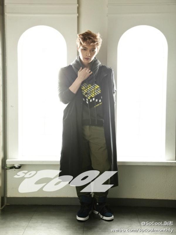 Tags: K-Pop, EXO, Lay, White Background, Black Footwear, Belt, Hoodie, Scarf, Black Jacket, English Text, Gray Neckwear, Medium Hair