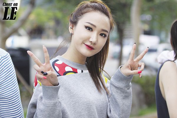 Tags: K-Pop, EXID, Le, Hair Up, Ponytail, V Gesture, Wallpaper