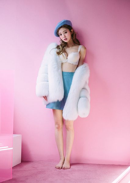 Tags: Fashion, Lee Chaeeun, Bare Legs, Cleavage, Fur, Lingerie, Pink Background, Barefoot, Fur Trim, Bra, Blue Skirt, Fur Coat