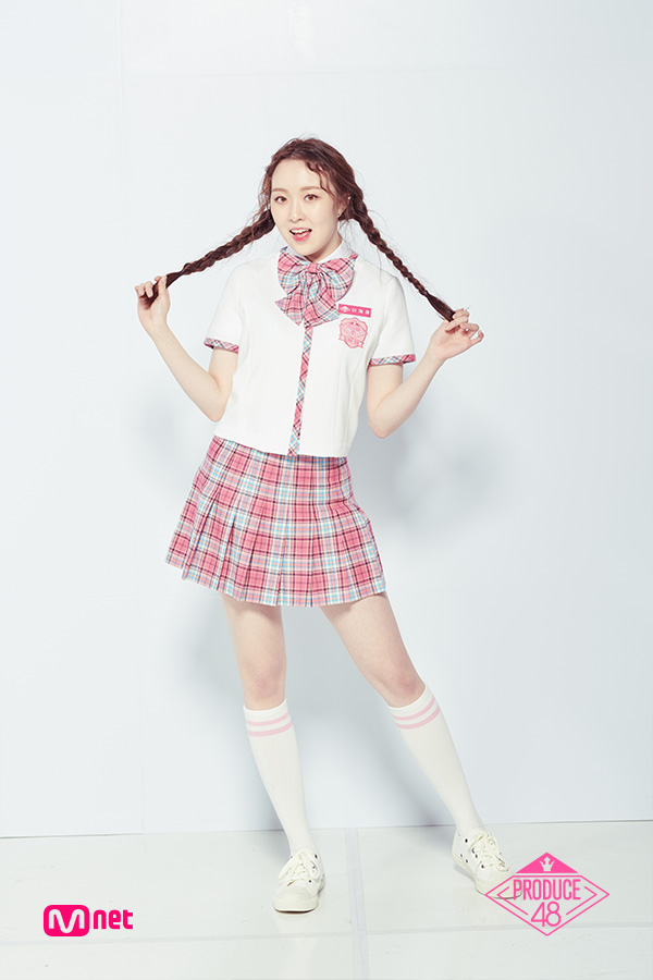 Tags: Television Show, K-Pop, Lee Chaejeong, Korean Text, Checkered Neckwear, Sneakers, Text: Artist Name, Shoes, Collar (Clothes), Text: Series Name, Twin Braids, Checkered Skirt
