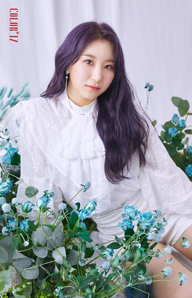 Tags: K-Pop, IZ*ONE, Lee Chaeyeon, Blue Flower, Serious, Purple Hair, Make Up, Flower, Rose (flower), Blush (Make Up)