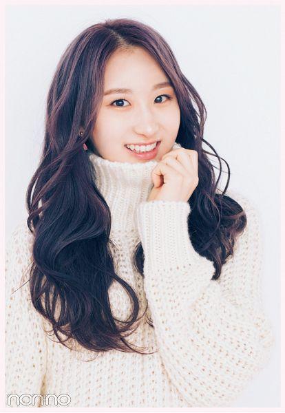 Tags: K-Pop, IZ*ONE, Lee Chaeyeon, Wavy Hair, Purple Hair, Light Background, White Background, Sweater, Grin, Non-no, Magazine Scan