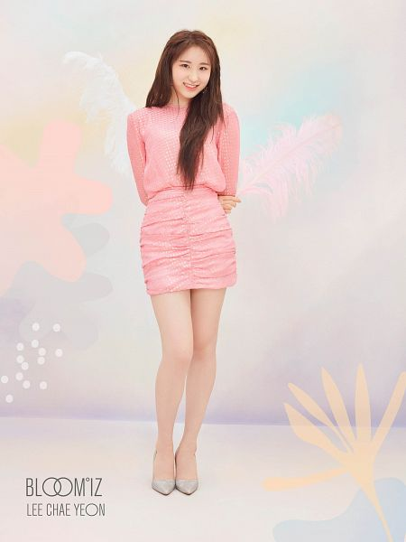Tags: K-Pop, IZ*ONE, Lee Chaeyeon, Pink Outfit, Full Body, Text: Artist Name, Pink Dress, Text: Album Name