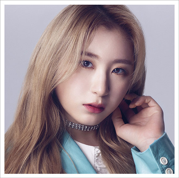 Tags: K-Pop, IZ*ONE, Lee Chaeyeon, Serious, Choker, Blue Jacket, Blue Outerwear, White Border