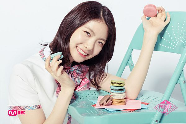 Tags: Television Show, K-Pop, After School, Lee Gaeun, Head Tilt, Close Up, Text: Series Name, Light Background, Macaron, Short Sleeves, Sweets, White Background