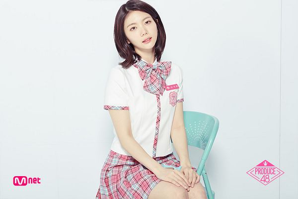 Tags: K-Pop, Television Show, After School, Lee Gaeun, Text: Series Name, Bow Tie, Head Tilt, Close Up, Checkered, Skirt, Checkered Bow, Light Background