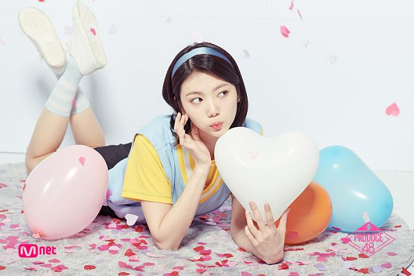 Tags: Television Show, K-Pop, After School, Lee Gaeun, Blue Shirt, Hairband, Light Background, Socks, Confetti, White Background, Balloons, Laying On Ground