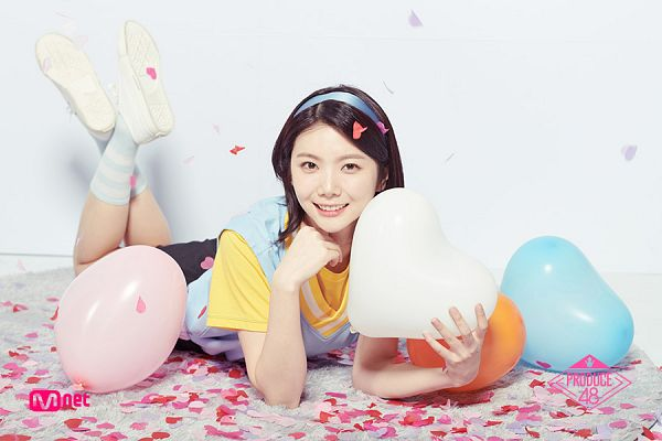 Tags: Television Show, K-Pop, After School, Lee Gaeun, Confetti, Light Background, Balloons, Laying On Ground, Shorts, Chin In Hand, Black Shorts, White Background