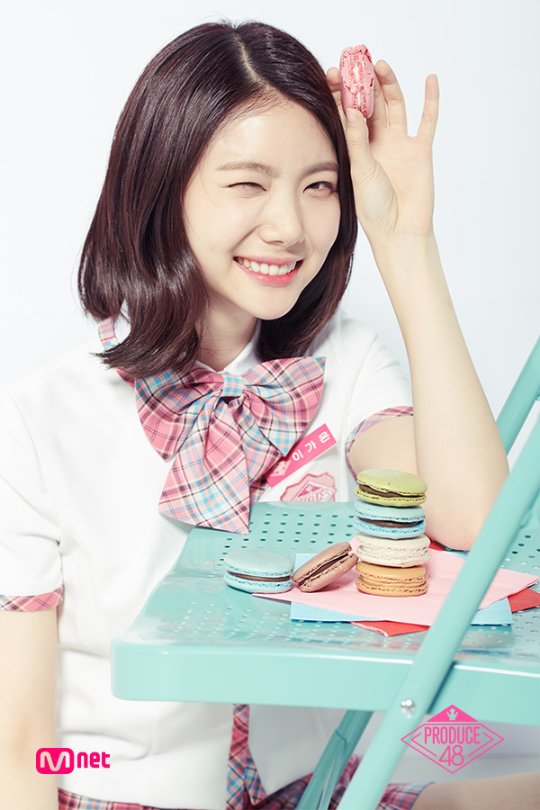 Tags: K-Pop, Television Show, After School, Lee Gaeun, Close Up, Checkered Neckwear, Chair, Light Background, Text: Series Name, Short Sleeves, Checkered Bow, White Background