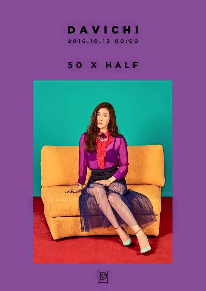 Tags: Davichi, Lee Haeri, See Through Clothes, Green Background, Anklet, Lingerie, Text: Calendar Date, Purple Background, Bra, Text: Artist Name, Sitting On Couch, Blue Footwear