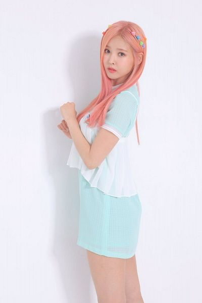Tags: K-Pop, Real Girls Project, Lee Jeewon, Short Sleeves, Pink Hair, Blue Dress, Blue Outfit