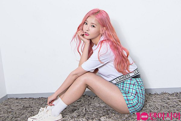 Tags: K-Pop, Real Girls Project, Lee Jeewon, Blue Skirt, Pink Hair, Skirt, 10asia + Star, Magazine Scan