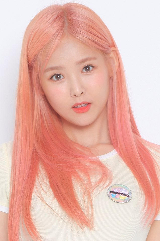 Tags: K-Pop, Real Girls Project, Lee Jeewon, Pink Hair, Light Background, Head Tilt, White Background, Red Lips