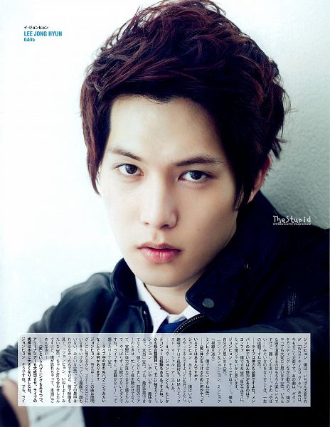 Tags: K-Pop, CNBLUE, Lee Jong-hyun, Leather Jacket, Text: Artist Name, Black Jacket, Light Background, White Background, Magazine Scan, Scan, Android/iPhone Wallpaper