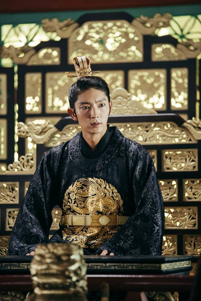 Tags: K-Drama, Lee Jun-ki, Serious, Belt, Looking Ahead, Chair, Traditional Clothes, Table, Throne, Korean Clothes, Black Outfit, Moon Lovers: Scarlet Heart Ryeo
