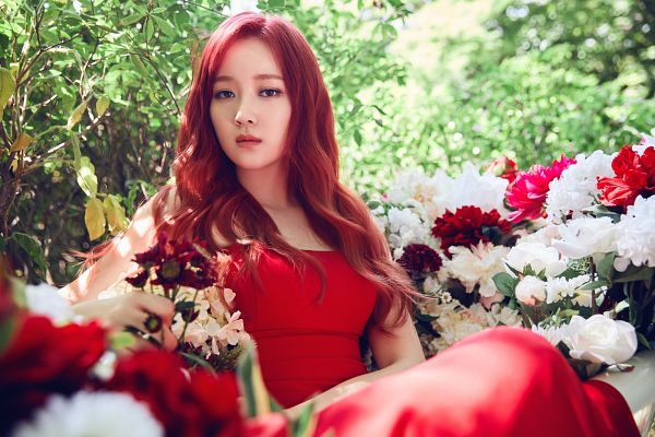 Tags: K-Pop, Nine Muses, Lee Keumjo, Red Hair, Red Lips, Flower, Plant, Tree, Forest, Red Dress, Red Outfit, Wallpaper