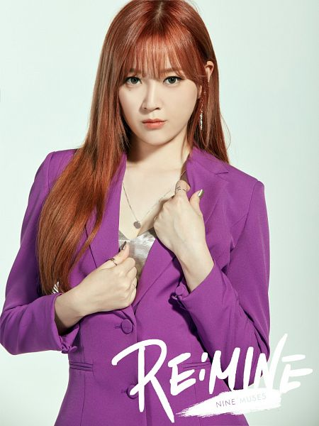 Tags: K-Pop, Nine Muses, Lee Keumjo, Red Hair, Purple Shirt, Close Up, Silver Shirt, English Text, Blunt Bangs, Gray Background, Necklace, Android/iPhone Wallpaper