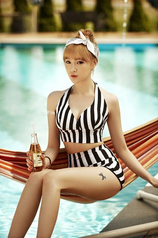 Tags: K-Pop, Nine Muses, Hurt Locker, Lee Keumjo, Hammock, Tattoo, Bottle, Swimming Pool, Suggestive, Hairband
