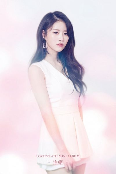 Tags: K-Pop, Lovelyz, Lee Mijoo, Text: Artist Name, English Text, Text: Album Name, Light Background, Chinese Text, White Dress, White Outfit, Healing